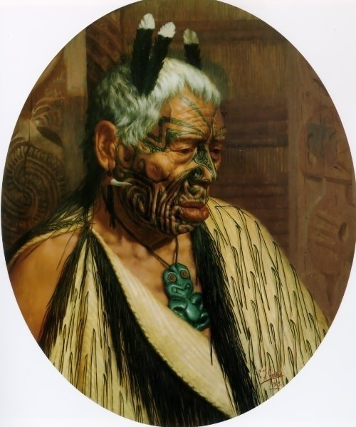 The last of the cannibals Tumai Tawhiti 1913 75x62cm. Charles Frederick Goldie