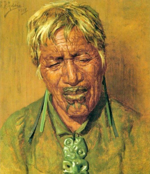 Sweet idleness Rahapa an Arawa chieftainess 1935 40.5x35cm. Charles Frederick Goldie