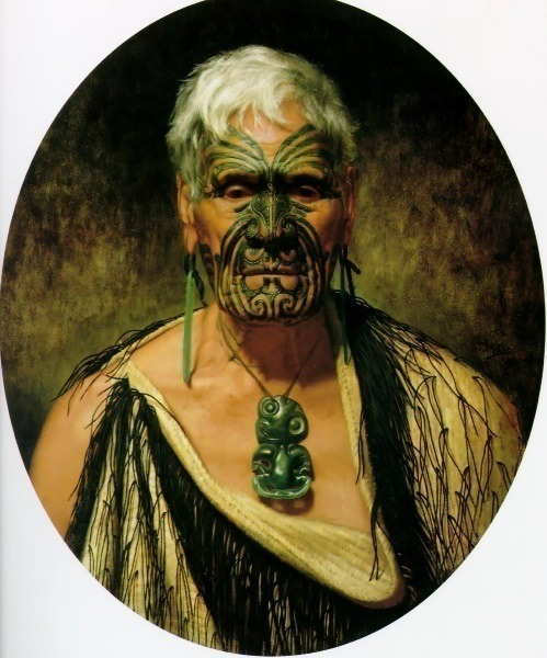 Te Aho a noted Waikato warrior 1902 63.5x54cm. Charles Frederick Goldie