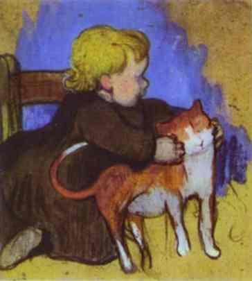 Мими и ее кошка. Поль Гоген