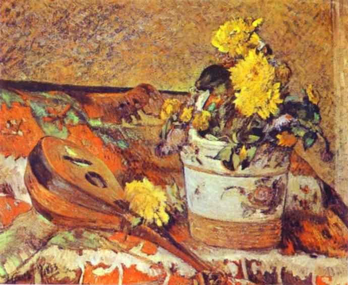 Mandolina And Flowers. Paul Gauguin