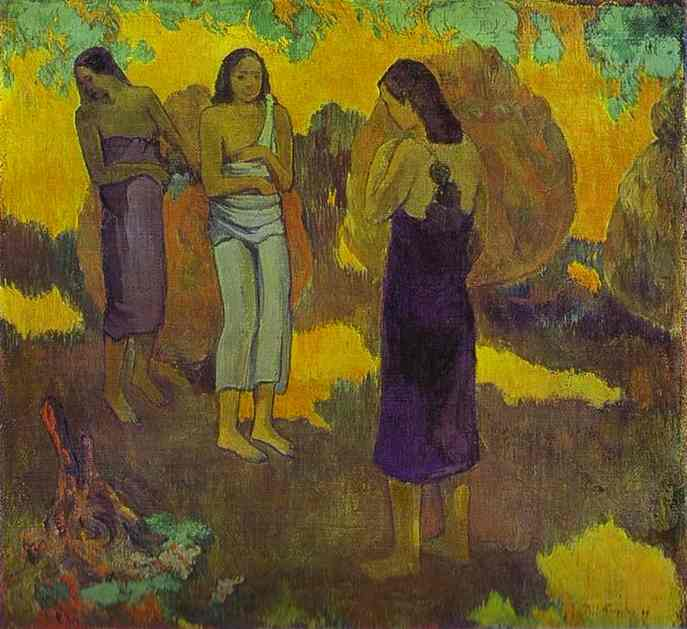 Three Tahitian Women Against A Yellow Background. Paul Gauguin