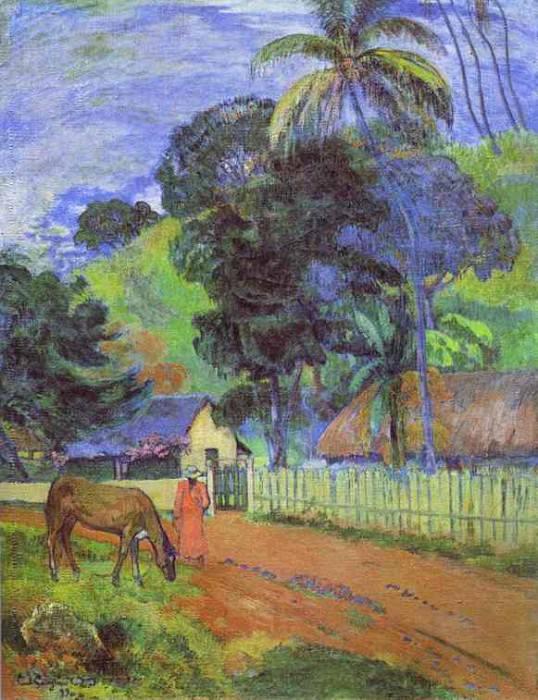 Лошадь на дороге, таитянский пейзаж. Поль Гоген