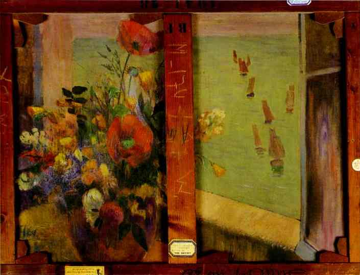 Bouquet Of Flowers With A Window Open To The Sea. Paul Gauguin