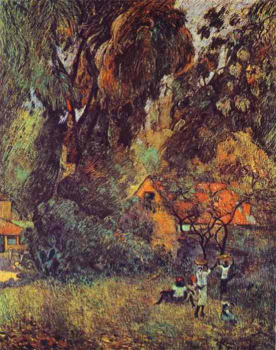 Huts Under Trees. Paul Gauguin