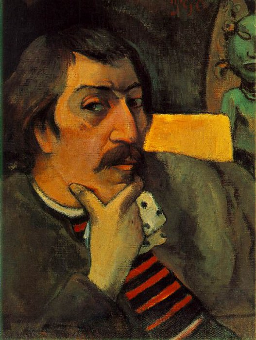 Portrait of the artist with an idol, ca 1893, 43.8x3. Paul Gauguin