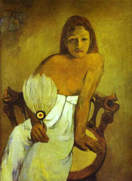Girl With A Fan. Paul Gauguin