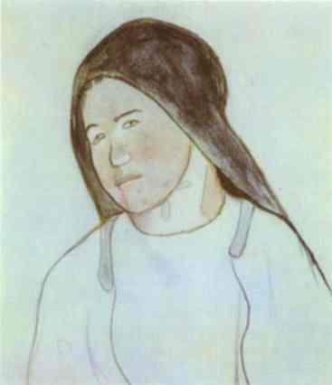 Head Of Young Breton Peasant Woman. Paul Gauguin