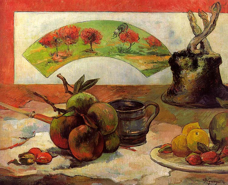 Still Life with Fan, 1889, oil on canvas, Musee dOr. Paul Gauguin