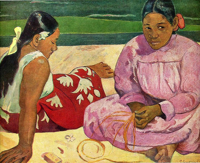 Two Tahitian Women on the shore. Paul Gauguin