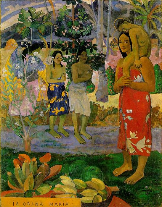We hail thee Mary, 1891, 113.7x87.7 cm, Metropolitan. Paul Gauguin