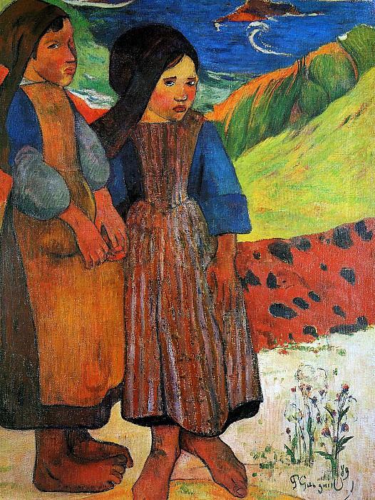 Two Breton girls Sun. Paul Gauguin