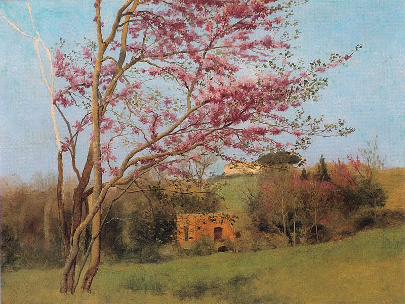 Landscape Blossoming Red Almond. John William Godward
