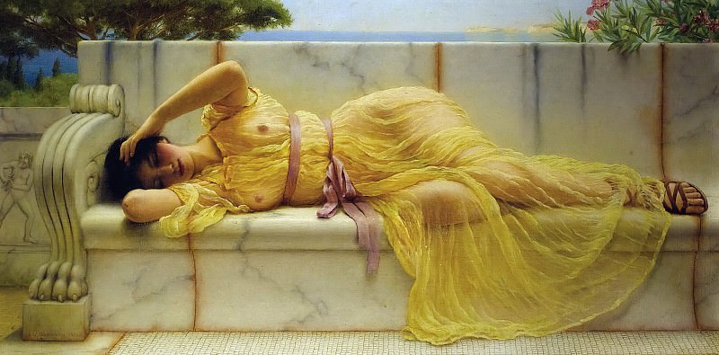 Girl in yellow Drapery. John William Godward