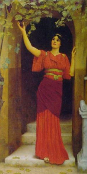 Young Girl Picking Grapes. John William Godward