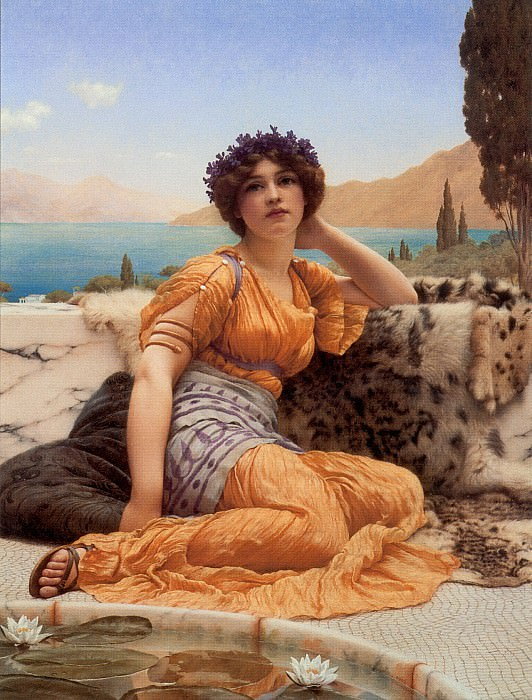 With Violets Wreathed and Robe of Saffron Hue. John William Godward