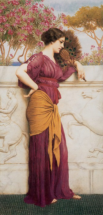 The Peacock Fan. John William Godward