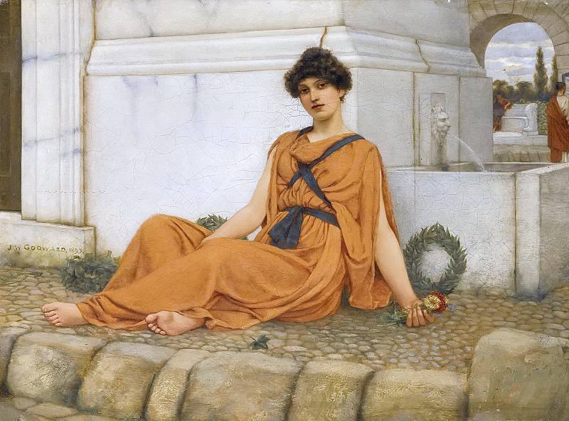 REPOSE, THE FLOWER GIRL. John William Godward