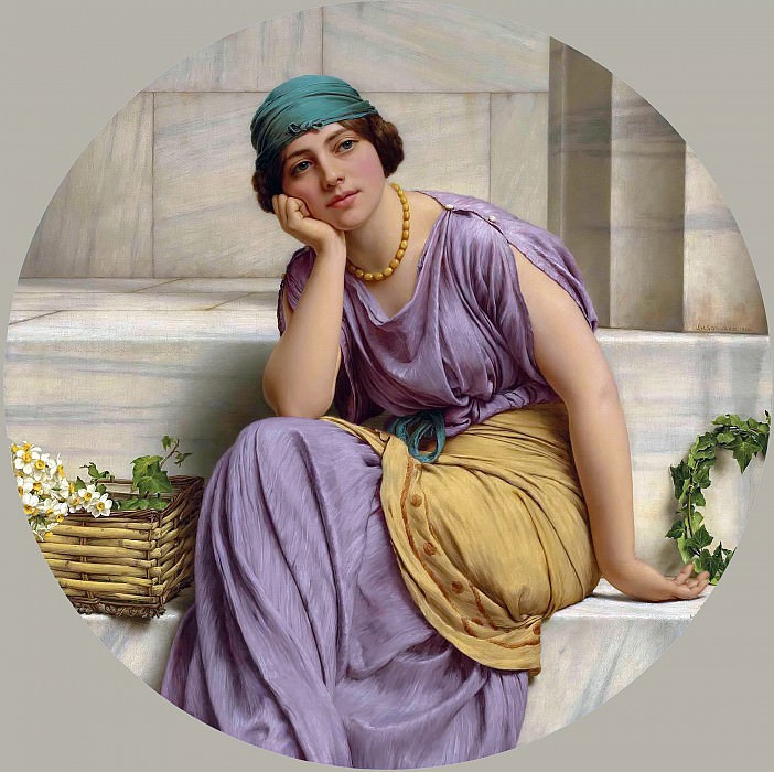 A Garland Seller1914. 77.5 x 77.5. John William Godward