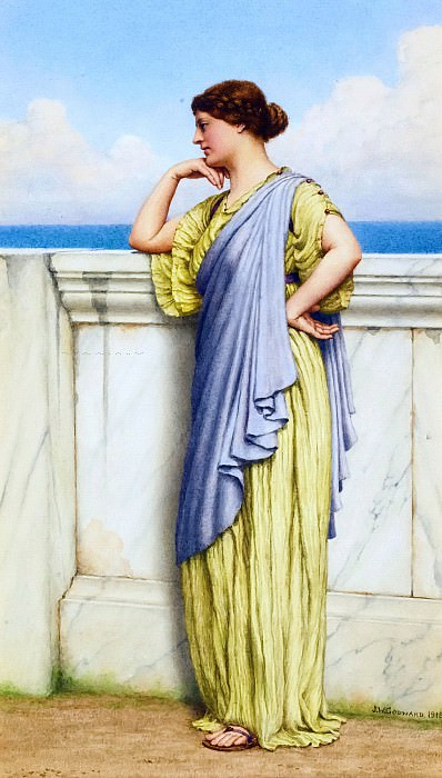 LOOKING OUT TO SEA. John William Godward
