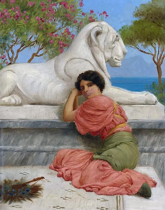 SEATED WOMAN WITH STONE LION. John William Godward