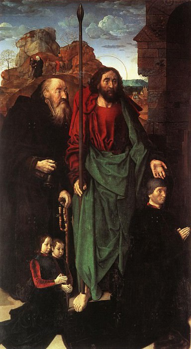 Триптих Портинари, ок.1475, левая панель (Святые Антоний и Фома, а также донатор Томмазо Портинари). Хуго ван дер Гус