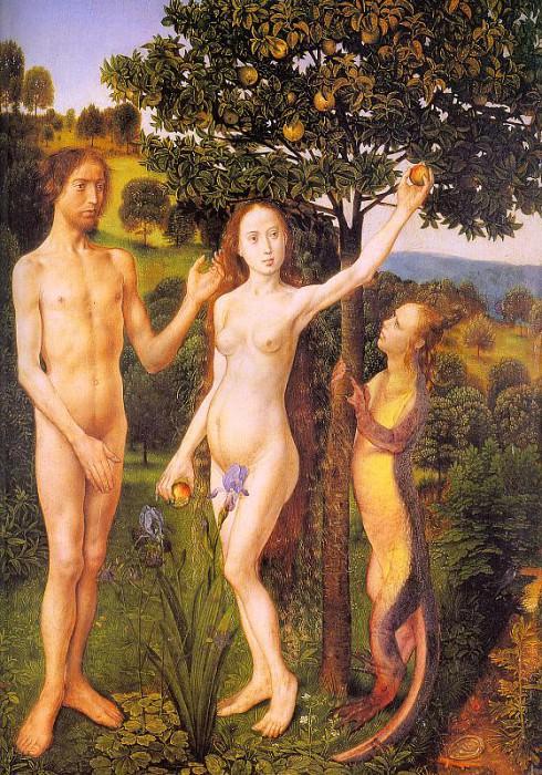 Грехопадение Адама и Евы, поддавшихся искушению Змея, 1470. Хуго ван дер Гус