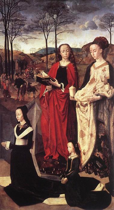 Триптих Портинари, ок.1475, правая панель (Святые Маргарита и Мария Магдалена, а также жена донатора Мария Портинари). Хуго ван дер Гус