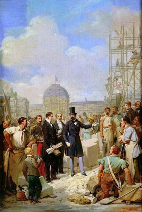 Study for Napoleon III (1808-73) Visiting the Works at the Louvre. Nicolas Louis Francois Gosse