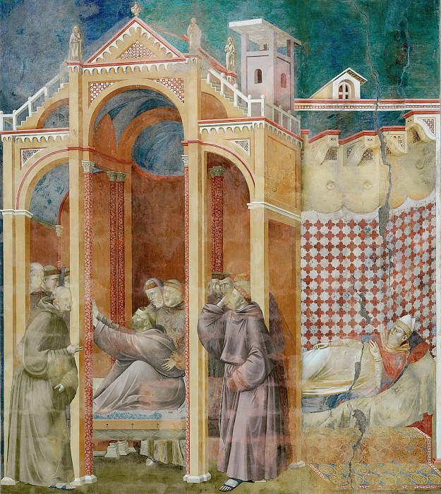 Legend of St Francis 21. Apparition to Fra Agostino and to Bishop Guido of Arezzo. Giotto di Bondone