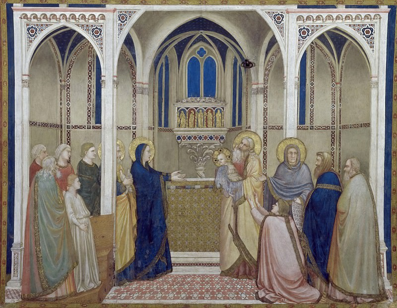 Frescoes of the north transept - Presentation of Christ in the Temple. Giotto di Bondone