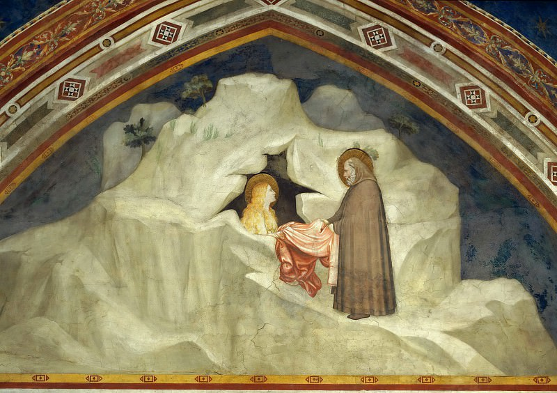 Scenes from the Life of Mary Magdalen: The Hermit Zosimus Giving a Cloak to Magdalen. Giotto di Bondone