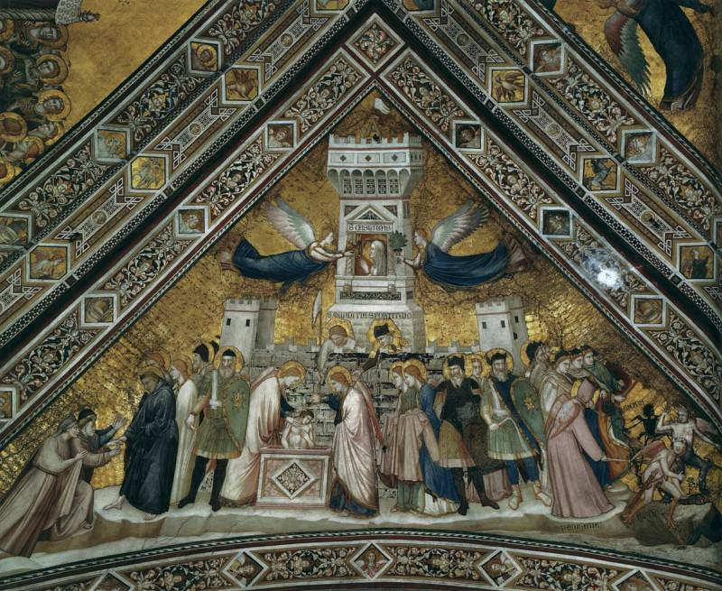 Frescoes in the crossing vault - Allegory of Chastity. Giotto di Bondone