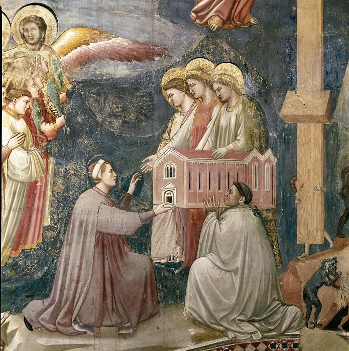54 Last Judgment; detail - Enrico Scrovegni Offering the Chapel. Giotto di Bondone