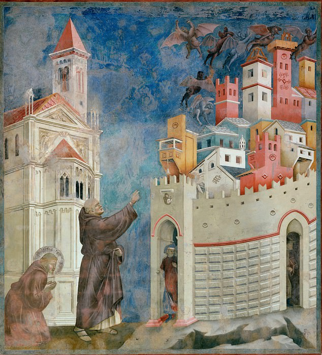 Legend of St Francis 10. Exorcism of the Demons at Arezzo. Giotto di Bondone