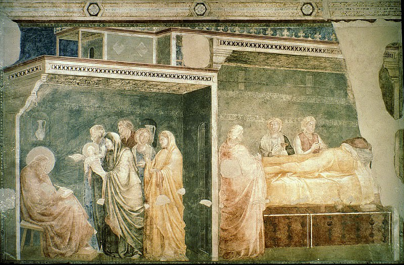 Peruzzi Chapel: Birth and Naming of the Baptist. Giotto di Bondone