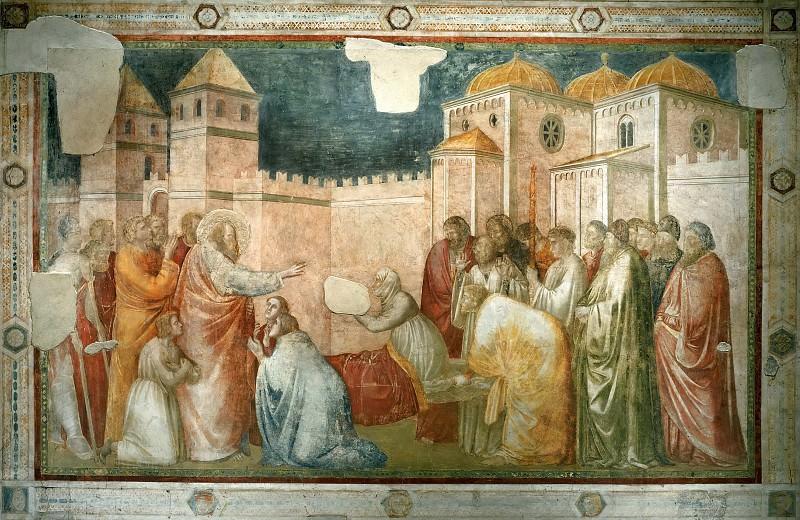 Peruzzi Chapel: Raising of Drusiana. Giotto di Bondone