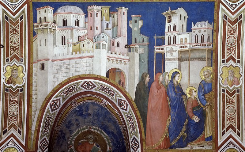 Frescoes of the north transept - Return of Christ to Jerusalem. Giotto di Bondone