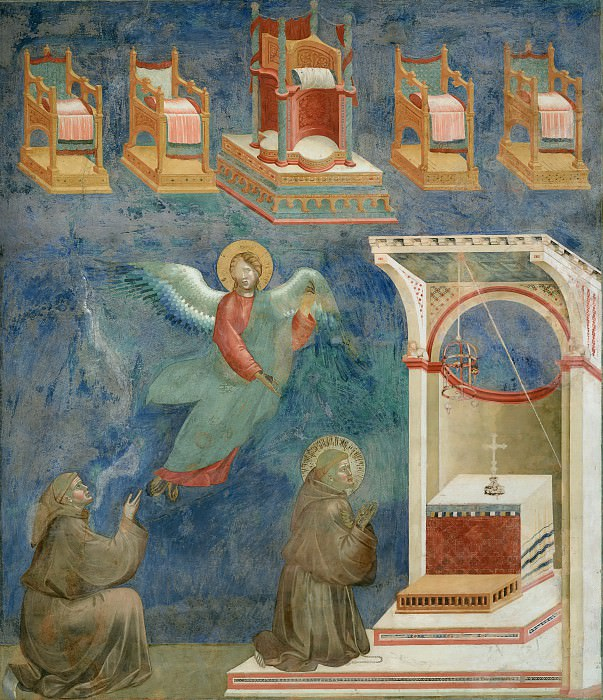 Legend of St Francis 09. Vision of the Thrones. Giotto di Bondone