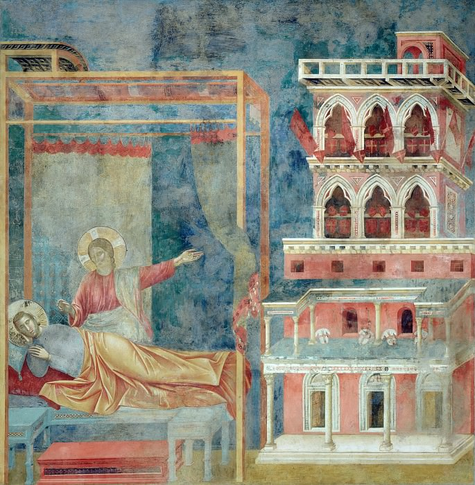 Legend of St Francis 03. Dream of the Palace. Giotto di Bondone