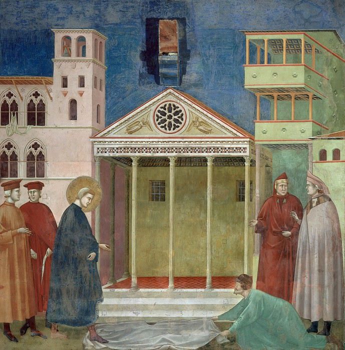 Legend of St Francis 01. Homage of a Simple Man. Giotto di Bondone