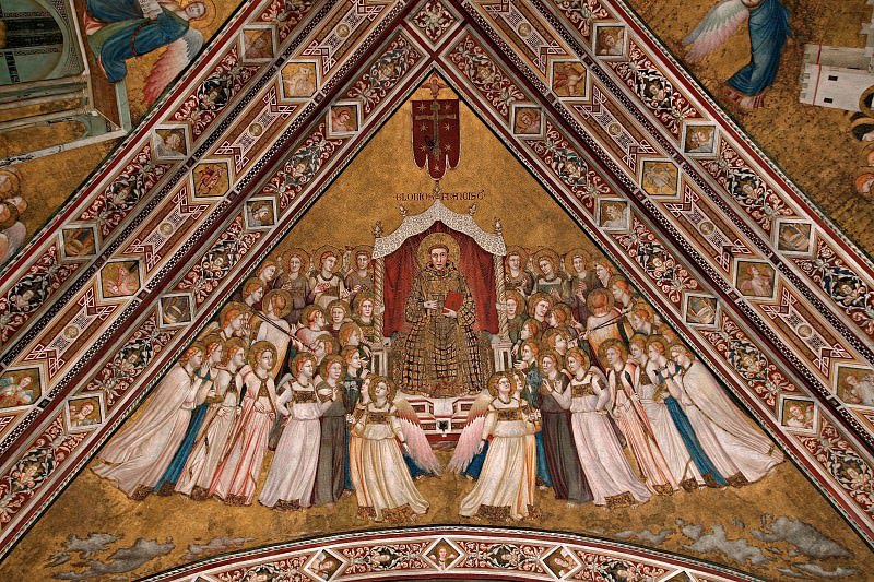 Frescoes in the crossing vault - The Apotheosis of St Francis. Giotto di Bondone