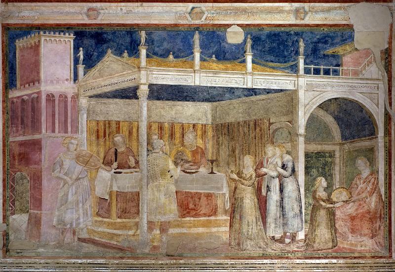 Peruzzi Chapel: Feast of Herod. Giotto di Bondone