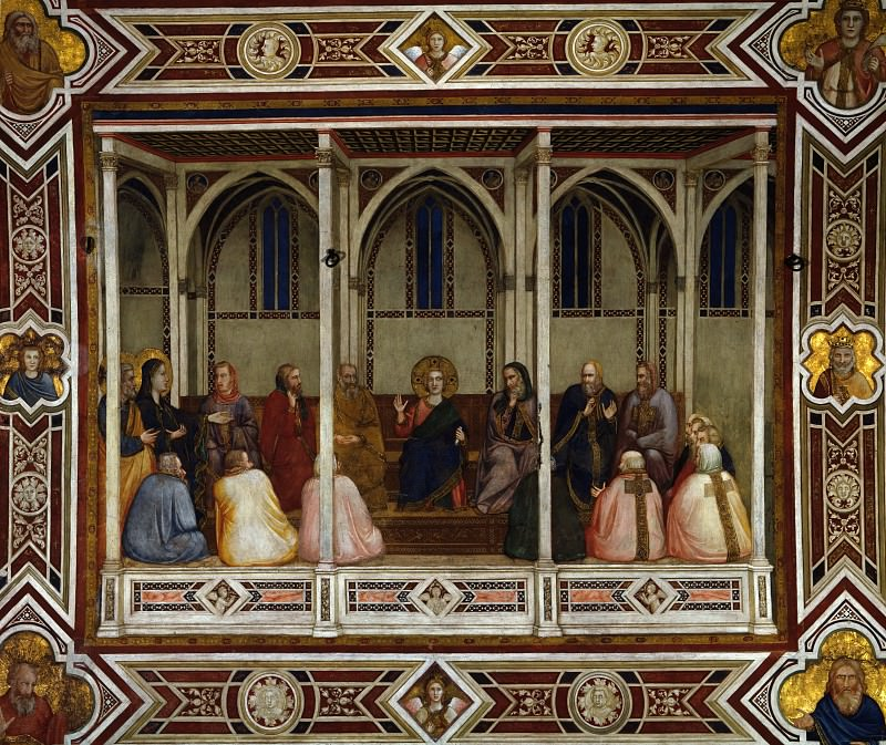 Frescoes of the north transept - Christ Among the Doctors. Giotto di Bondone