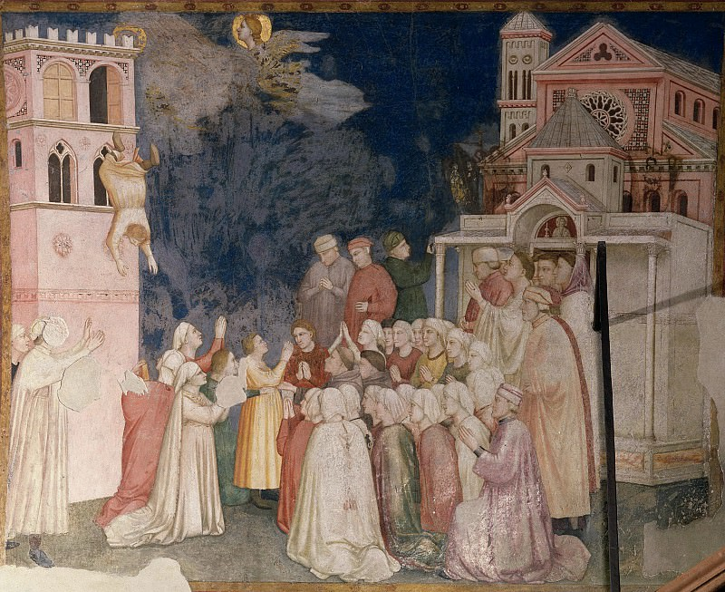 Frescoes of the north transept - The Death of the Boy in Sessa. Giotto di Bondone