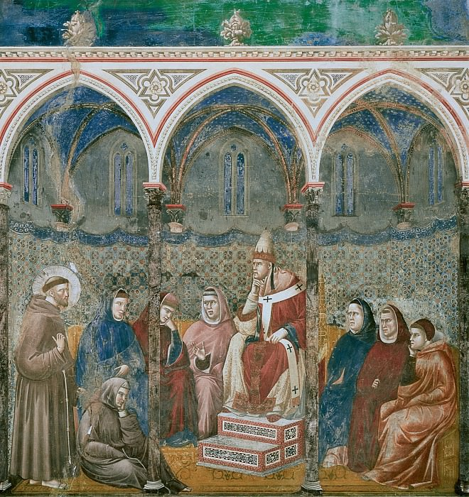 Legend of St Francis 17. St Francis Preaching before Honorius III. Giotto di Bondone