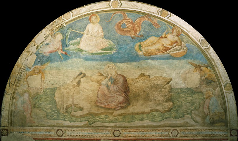 Капелла Перуцци: Иоанн Богослов на острове Патмос. Джотто ди Бондоне