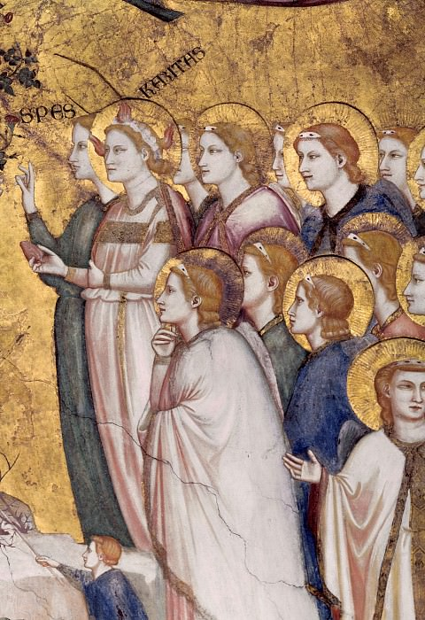 Frescoes in the crossing vault - Allegory of Poverty. Giotto di Bondone