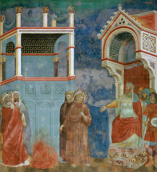 Legend of St Francis 11. St Francis before the Sultan (Trial by Fire). Giotto di Bondone