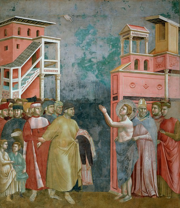 Legend of St Francis 05. Renunciation of Wordly Goods. Giotto di Bondone